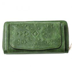Geometric Embossed PU Leather Zip Around Wallet - GREEN