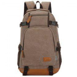 Casual PU Leather Spliced Canvas Backpack - COFFEE