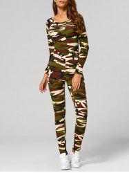 Long Sleeve Camouflage Print Jumpsuit -