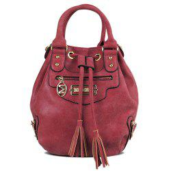Metal Eyelet PU Leather Tassel Handbag