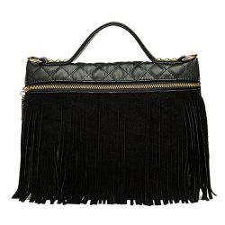 Fringe PU Leather Quilted Bag -