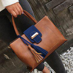 Metal Tassel Color Block Handbag