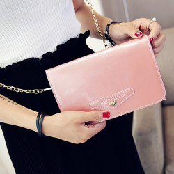 Letter Embossed Patent Leather Crossbody Bag