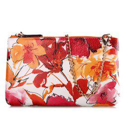 Chains Colored Floral Printed Pouch Bag