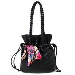 Scarves Braid PU Leather Drawstring Bag - BLACK