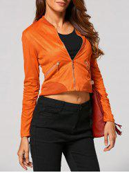 Criss Cross Faux Suede Zipper Up Jacket -