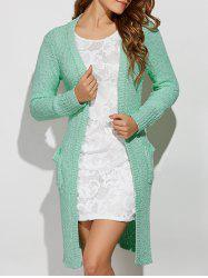 Collarless Pockets Long Side Slit Cardigan - LIGHT GREEN