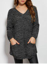 V Neck Pockets Sweater - DEEP GRAY