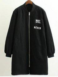 Stand Neck Letter Embroidered Cotton Linen Coat