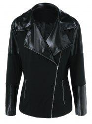Plus Size Inclined Zipper PU Patchwork Jacket - BLACK