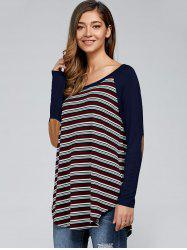 Elbow Patch Vertical Striped T-Shirt -