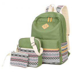 Canvas Geometric Pattern Color Block Backpack -