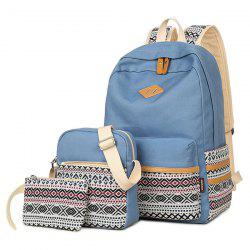 Canvas Geometric Pattern Color Block Backpack - LIGHT BLUE