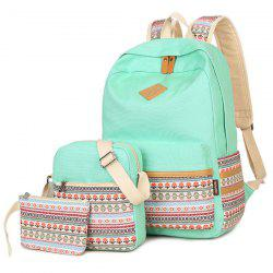 Colour Block Flower Pattern Canvas Backpack -