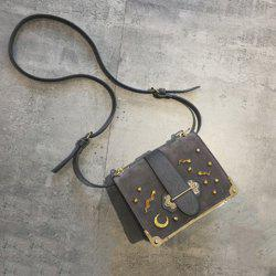 Splicing Metal Corner Square Shape Crossbody Bag - DEEP GRAY