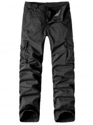 Zipper Fly Pockets Design Straight Leg Basic Cargo Pants