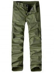 Zipper Fly Pockets Straight Leg Basic Cargo Pants