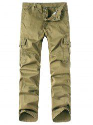 Zipper Fly Pockets Embellished Straight Leg Basic Cargo Pants