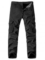 Zipper Fly Pockets Embellished Straight Leg Fleece Cargo Pants -