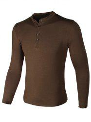 Grandad Collar Buttons Design Long Sleeve T-Shirt - COFFEE 3XL