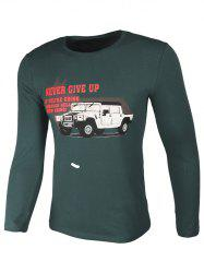 Crew Neck Car and Graphic Print Long Sleeve T-Shirt -