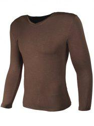 V Neck Plain Long Sleeve T-Shirt -
