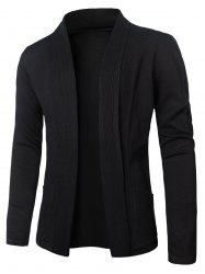 Turn-Down Collar Vertical Stripe Knitting Cardigan - BLACK 2XL