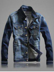 Multi-Pocket Long Sleeve Bleach Wash Denim Jacket