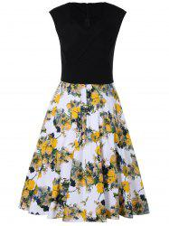 Flowers Print Sleeveless Dress -