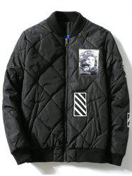 Zipper-Up Applique Rhombus Quilted Jacket