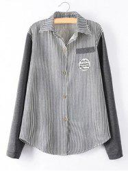 Striped Knit Spliced Shirt