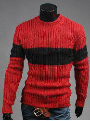 Crew Neck Color Matching Ribbed Sweater - WINE RED 2XL