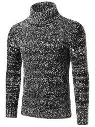 Heathered Turtleneck Texture Pullover Sweater