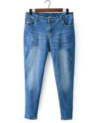 Bleach Wash Zip Fly Denim Pants