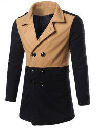 Color Matching Epaulet Design Double Breasted Coat -