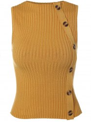 Jewel Neck Button Embellished Sweater Vest -