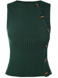Jewel Neck Button Embellished Sweater Vest
