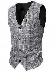 V-Neck Single-Breasted Checked Waistcoat - LIGHT GRAY 3XL