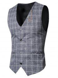 V-Neck Single-Breasted Checked Waistcoat