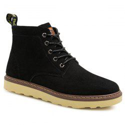 Eyelet Suede Lace-Up Short Boots - BLACK