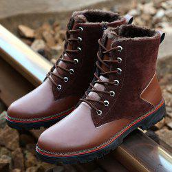 Vintage Suede Splicing Lace-Up Boots - BROWN
