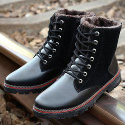 Vintage Suede Splicing Lace-Up Boots - BLACK