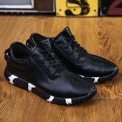 Stitching Lace-Up Textured PU Leather Athletic Shoes - BLACK