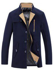 Stand Collar Single-Breasted Zipper Embellished Trench Coat -
