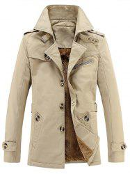 Turn-Down Collar Single-Breasted Zip Embellished Fleece Coat - APRICOT 5XL