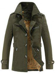 Turn-Down Collar Single-Breasted Zip Embellished Fleece Coat - ARMY GREEN