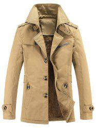 Turn-Down Collar Single-Breasted Zip Embellished Fleece Coat - EARTHY