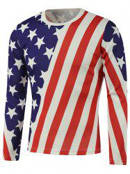 American Flag Star Printed Long Sleeve Sweatshirt - WHITE