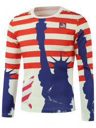 American Flag Freedom Printed Long Sleeve Sweatshirt - WHITE 5XL