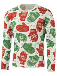 Snowflake Gloves Printed Long Sleeve Sweatshirt - GREEN 5XL